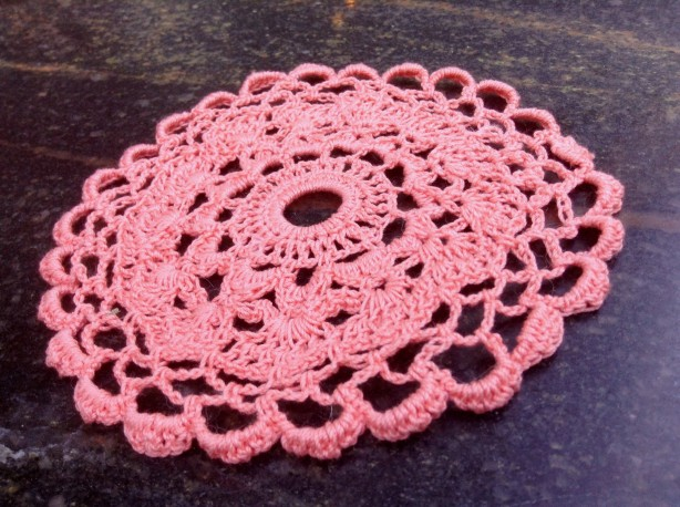A free-style crochet thread mandala (aka doily) that I am working on right now. I am using Rico Essentials Crochet Thread Size 10. I am using a 1.0 mm steel hook. And no pattern! :-)