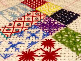 Sampler of Canvaswork stitches on Penelope Canvas