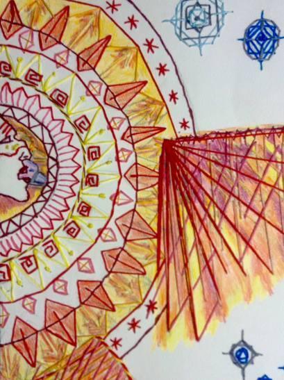 Tarot Sun. Renata Bursten, Pencil Crayon and paper embroidery, 2015.