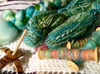 Fibre, singles ,and plied yarn, all spun on my new tiny Turkish spindle. Renata Bursten. 10/2016.