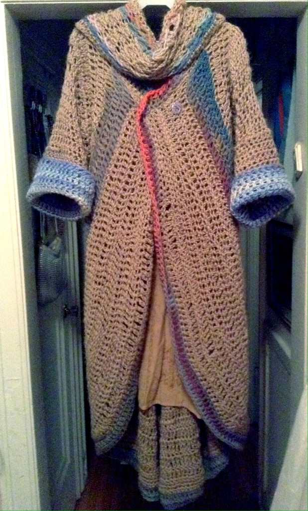 Front. Crochet alpaca coat and matching scarf. Renata Bursten 12/2016.