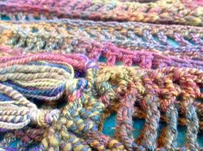 Detail. Brenda Barrie's Hand-Spun Crochet Merino Rectilinear Stole. Renata Bursten 12/2016.